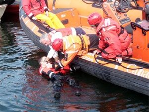 Working Over Water Operative Rescued By Safety Boat Services